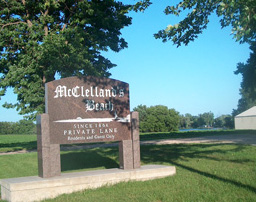 McClellands Beach - roadside sign - Spirit Lake - Iowa - 51360