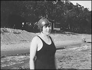 Before bikinis - McClelland's Beach - Mildred Bartels - swimwear - 1930s - McCclelland's Beach - Spirit Lake - Iowa - 51360